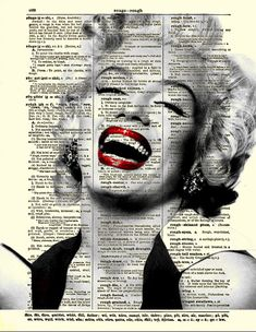 Marilyn Monroe Laughing, Marilyn Monroe Art Print on Antique Dictionary Page, Dictionary Art Print, Mixed Media Collage