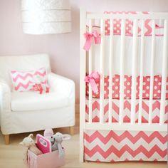 Sweet And Feminine Baby Girls Bedding Sets : Lovely Pink Sugar Zig Zag and Polkadot Three Piece Crib Baby Girls Bedding Set Inspiration in V...