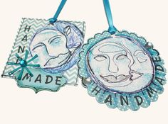 """~SOLD~ Sun Moon Celestial Exquisite Little Tags, cardstock, 2"""" square, 2 1/2"""" circle. Each tag features my Sun Moon hand-carved stamp image, and acrylic jewels and a touch of sealed glitter embellishments."""