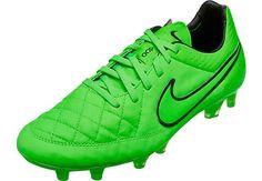 Nike Tiempo Legend V FG Soccer Cleats - Green Strike and Black Soccer Cleats 5da0d15678b