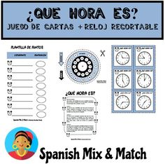 Telling the time card game + printable cut-out clock to learn how to tell the time in Spanish. Time In Spanish, Spanish Basics, Spanish Lessons, Bilingual Classroom, Spanish Classroom, Classroom Ideas, Spanish Teacher, Teaching Spanish, Telling Time