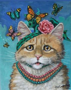 Lady Cat Kitten ACEO print from original oil by Joy Campbell