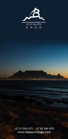 Before it becomes too dark; escape to Bloubergstrand beach, where the view of Table Mountain is incredible and picturesque, and your pictures will surely rival a postcard!  Let's hear from you! +27 21 554 2371 +27 82 308 1079 info@blaauwvillage.com Table Mountain, South Africa, Photos, Pictures, The Incredibles, Photo And Video, Dark, Videos, Beach