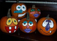 30 Funny Faced Halloween Pumpkin Drawings and Painting Ideas