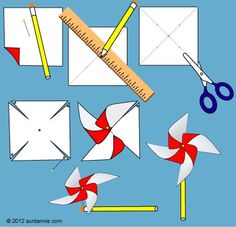 Illustration of how to make the Easy Pinwheel pinwheels Summer Crafts For Kids, Spring Crafts, Projects For Kids, Diy For Kids, Craft Projects, Summer Crafts For Preschoolers, Fourth Of July Crafts For Kids, Garden Crafts For Kids, Summer Kids