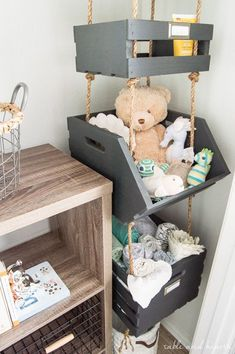 What a cool way to use vertical space! Hanging closet storage crates not for kids room