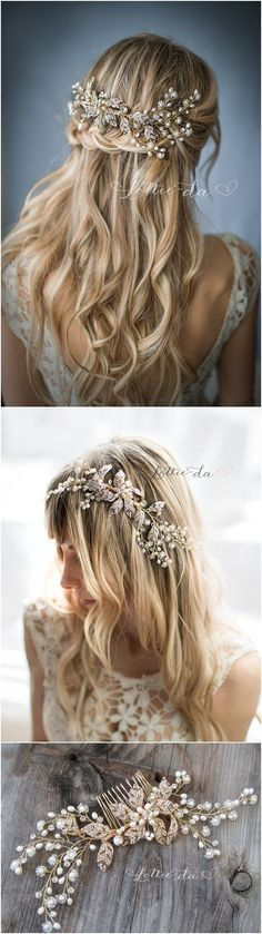 Wedding Hairstyles : Boho Gold Flower Leaf Hair Vine Wedding Headpiece Wire Wedding Hair comb Weddi