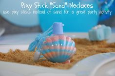 Pixie stick sand necklace for mermaid under the sea party activity