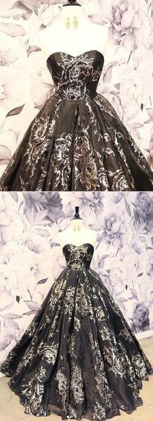 Sweetheart Neck Black Strapless Long Lace Up Senior Prom Dress, Evening Dress Beautiful Dresses, Nice Dresses, Dresses With Sleeves, Senior Prom Dresses, Sweetheart Prom Dress, Satin Color, Ball Gowns, Evening Dresses, Color Card