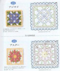 Crochet Motif Patterns, Granny Square Crochet Pattern, Crochet Blocks, Crochet Diagram, Crochet Chart, Crochet Squares, Crochet Granny, Diy Crochet, Crochet Stitches