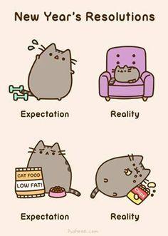 Les tags les plus populaires pour cette image incluent : cat, pusheen, reality, expectations et 2014