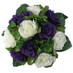 Purple and Ivory Silk Rose Nosegay - Bridal Wedding Bouquet * Click image to review more details.