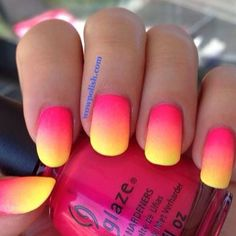 pink and yellow ombre nails