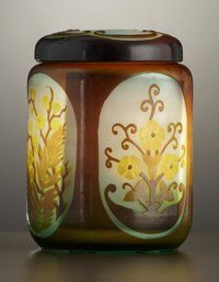 A FRENCH ART GLASS JAR AND COVER . Émile Gallé, Nancy, France,circa 1900. Marks: Galle. 5-1/2 x 4 inch diameter (14.0 ...(Total: 2 Items)