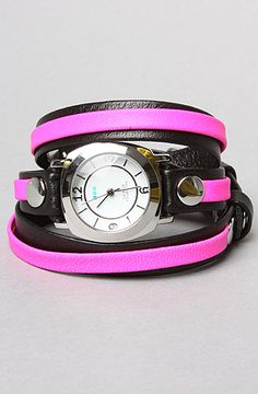 The Odyssey Layer Watch in Black and Neon Pink With Silver by La Mer