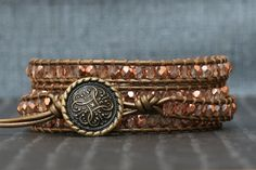 Wrap bracelet- rose gold crystal on bronze leather- beaded leather 4 wrap…