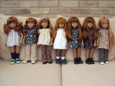 Really interest variety of hair styles for Red Head Sashas. I do not like the thick straight cut bangs or the curls. Of all of these my fav is the one on the far right.