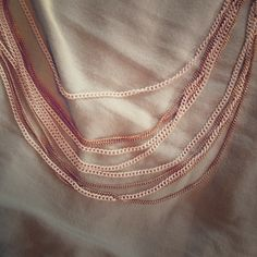 Long white and Gold Multi Strand Necklace Beautiful white and Gold Necklace with ten striped strands Jewelry Necklaces