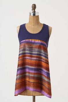 Anthropologie-inspired, easy to make from a tank top and some pretty fabric Clothes Crafts, Sewing Clothes, Diy Clothing, Clothing Patterns, Do It Yourself Fashion, Shirt Refashion, Diy Fashion, Look, Clothes For Women