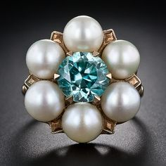 Vintage Blue Zircon and Pearl Ring http://www.langantiques.com/products/item/30-3-5040