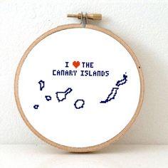 Canary Islands Map Cross Stitch Pattern. Destination wedding gift. DIY Summer holidays souvenir. Island love. First love.