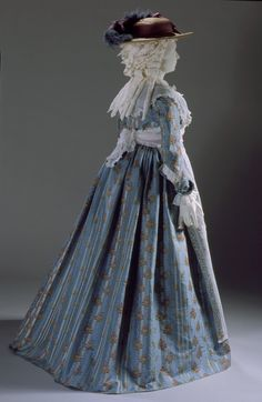 Woman's Dress, France or England, textile circa 1770; dress circa 1785-1790.