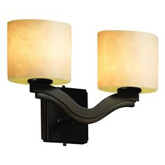 Justice Design Group CLD-8975 - Bend 2 Light Wall Sconce - Oval Shade - Dark Bronze - CLD-8975-30-DBRZ