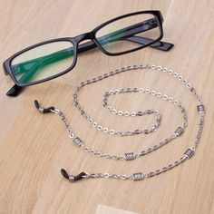 Silver eyeglasses holder chain knotwork link glasses chain   Etsy Eyeglass Holder, Diy Mask, Eyeglasses, Handmade Jewelry, Beaded Bracelets, Women's Fashion, Chain, Silver, Painting