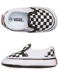 Toddler boy slip on Van's - black and white checkerboard pattern . . . adorable!