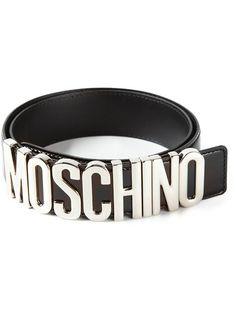 Moschino Logo Plaque Belt - Hirshleifers - Farfetch.com