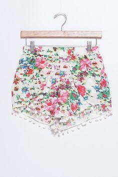 Rose Pom Pom Shorts