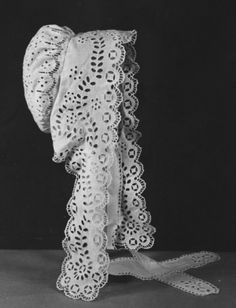 Mid-19th century English bonnet with whitework and broderie anglaise.
