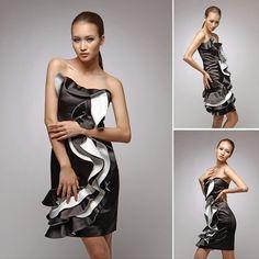 Black and white fashion evening dress