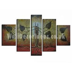 Abstract Hand-painted Oil Painting with Stretched Frame - Set of 5