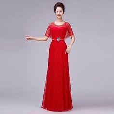 Dress A-line Jewel Floor-length Lace Dress – USD $ 69.99