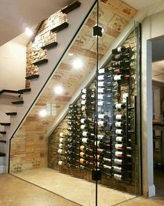 Old stairs in the house? No room for a cellar? Well check this idea out. Turn underneath your stairs into a wine cellar. note the cool use of wooden boxes lining the roof of the cellar. Under Stairs Wine Cellar, Wine Cellar Basement, Wine Cellar Modern, Wine Cellar Design, Home Wine Cellars, Home Bar Designs, Staircase Design, Basement Remodeling, Bars For Home