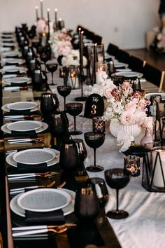 This couple flew in on a helicopter for their modern black + blush wedding at Hangar 21 - 100 Layer Cake wedding reception Black, gold, and pink tables cape Wedding Themes, Wedding Designs, Wedding Colors, Modern Wedding Decorations, Modern Wedding Ideas, Modern Wedding Reception, Wedding Dinner, Rustic Wedding, Gothic Wedding
