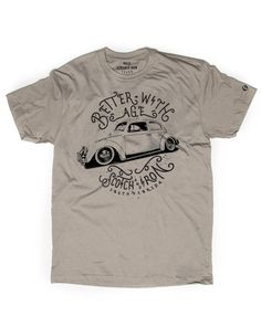 """At Scotch and Iron we have a sweet spot for Vintage Volkswagens. Our """"Better with Age"""" tee shirt features a classic Volkswagen Beetle / Bug in a simple one color distressed design. // Volkswagen Bug /"""
