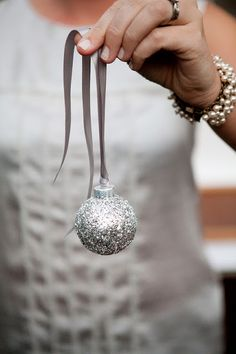 "Thinking of doing any 'Old Fashion"" Christmas Tree in my dining room this year... this has given me many ideas!  Holiday DIY: Silver Glitter Ornaments 
