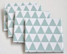 Tile Coasters Pale Mint Triangles Ceramic Coasters by Tilissimo. Etsy $25