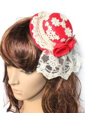 Cute Red Corduroy Lace Floral Lolita Hat