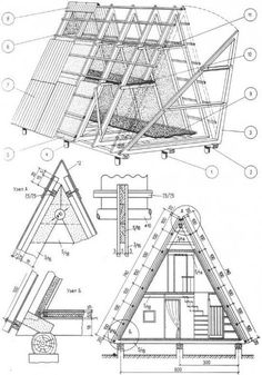 Now You Can Build ANY Shed In A Weekend Even If You've Zero Woodworking Experience! Start building amazing sheds the easier way with a collection of shed plans! Tiny House Cabin, Tiny House Plans, Cabin Homes, A Frame Cabin Plans, Build A Frame, Cabin Design, Tiny House Design, Triangle House, Bamboo House