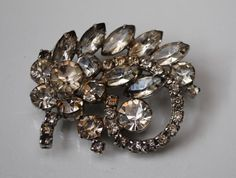 Vintage Weiss Crystal Brooch by serendipitytreasure on Etsy, $38.00