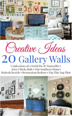 Gallery wall inspiration from 6 popular bloggers via Our Southern Home