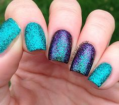 Purple and teal turqoise nails, purple glitter nails, purple nail polish, n Turqoise Nails, Purple Teal, Purple Glitter Nails, Peacock Nails, Glitter Manicure, Glitter Gel, Gel Manicure, Teal Nail Designs, Nails Design