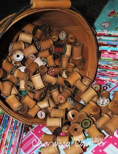 Antique Spools and Basket