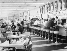 Lunch counter at Clark's, a grocery, drug, sundries, and department store in Charlotte, NC in 1962 or 1963.