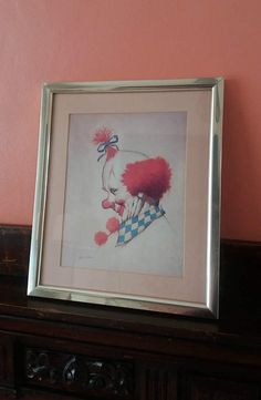 Clown print  John Boden  vintage clown by GingerCatUpholstery