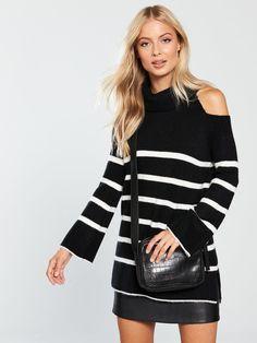 V by Very Cold Shoulder Roll Neck Jumper - Stripe Very Cold, Roll Neck Jumpers, Latest Fashion, Cold Shoulder, Latest Trends, Blouse, Shopping, Tops, Women