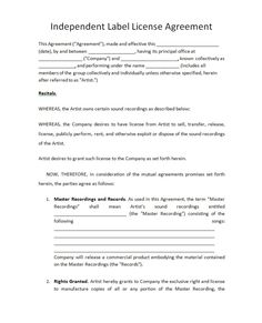 A customizable letter template from a landlord to a tenant for Record label contracts templates